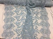Majestic Light Blue Shinny Vine Design Embroider And Heavy Beaded On A Mesh Lace