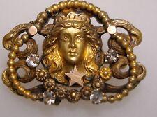 Moon Goddess W/Brilliants Pin! Amazing Detail Rare Victorian Yellow & Rose Gilt