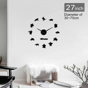 Wall Clock I Love Turtles Marine Animal Acrylic Frameless Mirror Effect Big Time