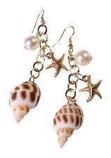 Mermaid Earrings Fancy Dress Costume Accessory Shells Starfish Pearls Pierced