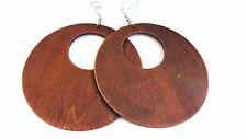 WOOD EARRINGS LARGE 4 INCH HOOP BLACK OR BROWN HOOP EARRINGS LIGHTWEIGHT