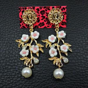 Betsey Johnson Gold White & Pink Resin Flower Crystal Pearl Stud Dangle Earrings