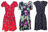 Ladies Ex Chain Floral Print Short/Capped Sleeve Empire/A Line Summer Dress 6-22
