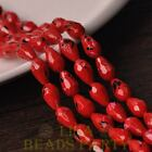 New 15pcs 12X8mm Teardrop Faceted Dots Loose Glass Spacer Beads Red