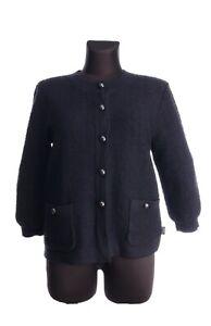 CHANEL Uniform Black Wool 3/4 Sleeve Button Up Jumper Cardigan Size L