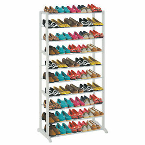 50 SHOE RACK 10 TIER STORAGE ORGANISER STAND SHELF PAIRS TRAINERS COMPACT SPACE