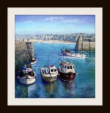 Newquay junto Harbour Cornwall pintura al óleo originales por Robin Beckett Grande 40cm X 40cm