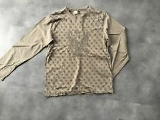 IKKS  TOP SWEAT PULL MARRON GLACÉ IMPRESSION FRANGES BRODERIE T. XS = T.14 ANS