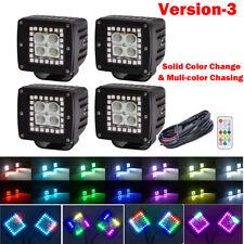 Set 4pcs 3inch CREE LED Work Light Flood Cube Pod RGB Halo Ring Chasing Changing
