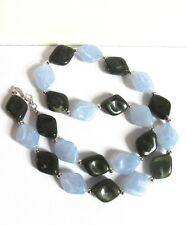 Green & Blue Rhombus Bead Necklace - 22 inches