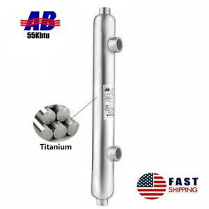 "Salt Water Heat Exchanger Titanium 55kBtu Same Side 1"" 3/4""FPT Mariculture"