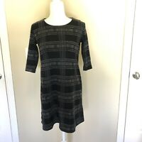 Anne Elisabeth Black Plaid A-line Dress Size 38