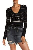 NWT $178 Bailey/44 Womens L Niki V-Neck Eyelet Knit Sweater Top In Black