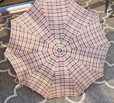 Vintage Umbrella Parasol Plaid Design in Colors of Pink Black & Beige