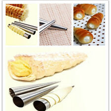 3Pcs Stainless Steel Conical Tube Cone Danish Tool DIY Baking Pastry Roll Horn