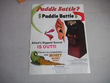 ALLIED LEISURE paddle battle folded     ARCADE GAME  FLYER