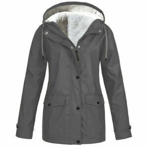 UK Winter Womens Plus Size Winter Parka Coat With Faux Fur Hood Waterproof Lady