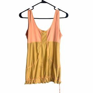 Lululemon Sunrise Tank Top Orange/Tan Women's Size S Ruffled Hem with Drawstring