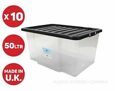 10 X 50 LITRE PLASTIC STORAGE BOX! QUALITY CONTAINER WITH BLACK LID! STACKABLE!