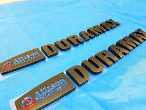 2PCS Matte Black Allison Duramax Emblem Letters for Silverado 2500 HD 3500 HD