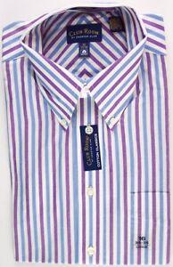 NWT Club Room Mens Blue & Purple Stripe 100% Cotton Dress Shirt, 16 (34/35), $45