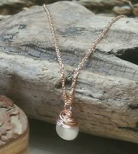 9ct Rose Gold and Real Pearl Necklace Handmade Jewellery Wire Wrapped Pendant