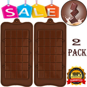 2x Chocolate Bar Mould Silicone Candy Mold Chocolate Mould Sugar Snap Bake Mold