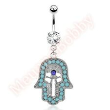 Hamsa Hand Navel Belly Button Bar Ring Dangle Body Piercing Jewellery