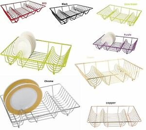 LARGE DISH DRAINER MULTI COLOUR METAL WIRE CUTLERY DINING HOLDER RACK KITCHEN