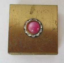 Vintage Women's Brass Folding Pocket Picture Frame with Pink Stone & Rhinestones