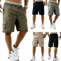 Mens Cargo Shorts Elasticated Summer Casual Cotton Combat Pants M L XL 2XL 3XL