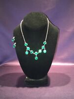 Vintage Sterling Necklace Matching Earrings With Green Gemstones