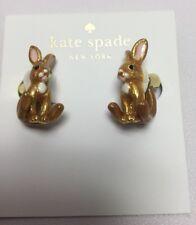 KATE SPADE 12K Gold Plated Bunny Rabbit Ear Jacket Earrings w/ kS Dust Bag
