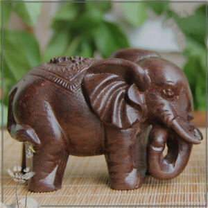 Hand Wood Carving Crafts Elephant Animal Figurines Statue Home Ornaments Decor