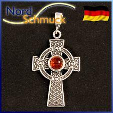 Keltenkreuz Anhänger Bernstein Bernsteinanhänger 925 Silber gothic Amulett K222