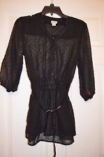 Mossimo Womens S Small Sheer Belted Tunic Top - Black - New