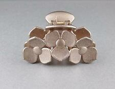 """Brown Bronze hair clip flower floral plastic barrette jaw claw clamp 3.25"""" long"""