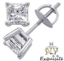 .40ct 2/5ct H/VS2 PRINCESS-CUT GENUINE DIAMONDS IN 14K SOLID GOLD STUDS EARRINGS