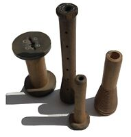 Lot of 4 Antique Vintage Wooden Textile Bobbins Spools Used
