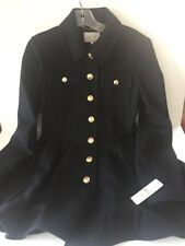 Laundry Shelli Segal Military Skirted Peplum Coat Sz 4 black NWT Wool Bl. Winter