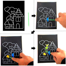 1pack 8Sheets Kid Painting Scratch Paper Colorful Magic Art With Drawing StickLS