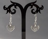Lovely Tibetan Silver Filigree Heart, 925 Sterling Silver Hook Earrings.Handmade