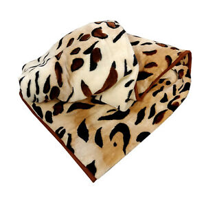 LARGE Leopard Cheetah Faux Fur Mink Animal Skins Blanket Sofa / Bed Throw