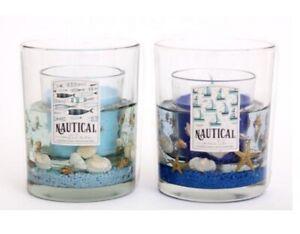 Sea Life Gel Wax Candle Blue Nautical Bathroom Décor