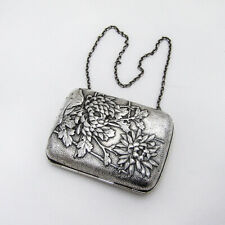 Chrysanthemum Cigarette Case Japanese Pure Silver Mono