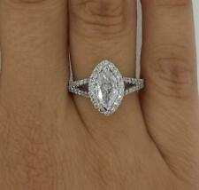 1.8 Ct Split Shank Halo Marquise Cut Diamond Engagement Ring VS2 F White Gold