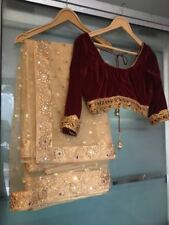 Indian Pakistani Saree Velvet Blouse Bollywood stone embroidery Gold Net Sari