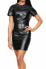 Women's Leather Mini Dress Genuine Lambskin Leather Evening Cocktail Party Dress
