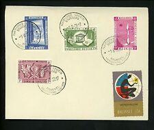 Postal History Belgium #517+518+520+522 Seal Label World's Fair UN 1958 Brussels