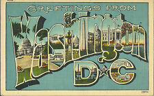 Greetings From Washington DC - Large Letter Linen Postcard